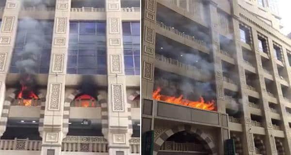شاهد بالفيديو: حريق ضخم يلتهم أحد الفنادق اليوم الأحد في مكة المكرمة