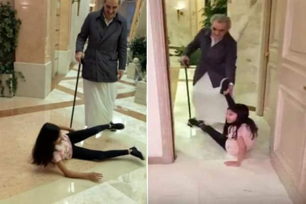 شاهد بالفيديو: الوليد بن طلال يقوم بسحب حفيدته على الأرض