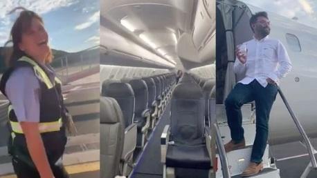 بالفيديو.. راكب يتفاجأ بوجوده بمفرده على متن رحلة طيران ويوثقها بطريقة طريفة