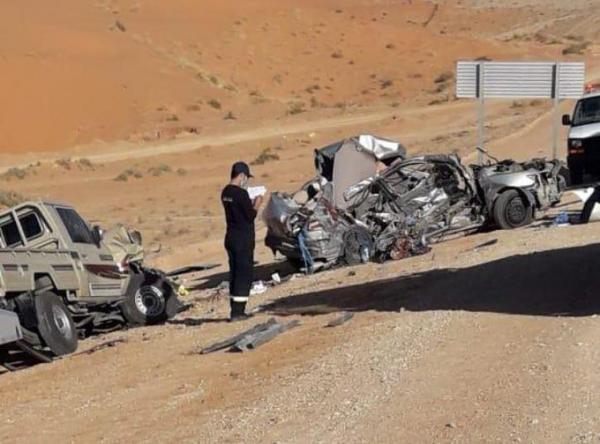حادث مروري مؤلم على طريق الرياض القصيم ووفاة كافة افراد الأسرة (صورة)
