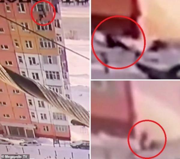 بفضل الله.. شاهد فيديو الطقس السيء ساهم بانقاذ امرأة سقطت من الطابق التاسع !
