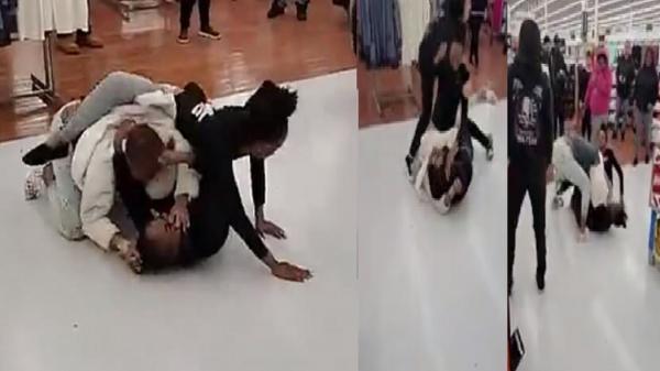 بالفيديو.. معركة نسائية شرسة داخل سوبر ماركت بسبب «معقم يد»