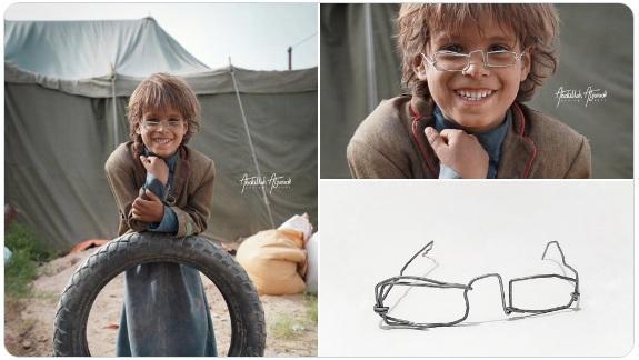 طرح نظارة طفل نازح في مزاد خيري على تويتر ويصل الى 2 مليون ونصف ريال