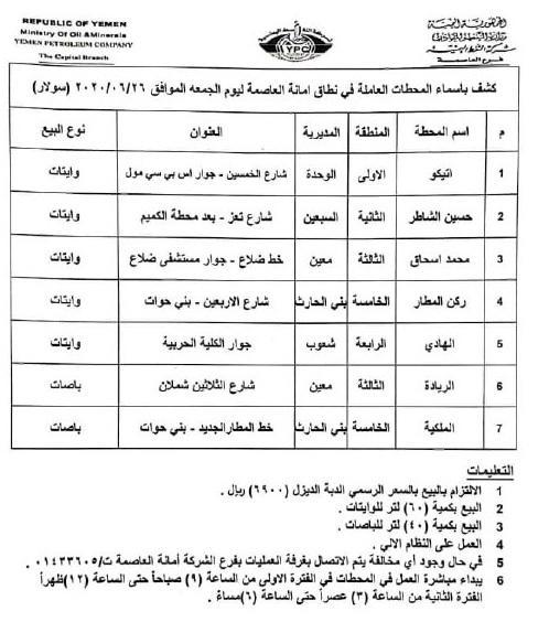 """كشوفات بـ أسماء المحطات العاملة في امانة العاصمة """"بنزين + ديزل"""" ليوم الجمعه 26 يونيو 2020م"""