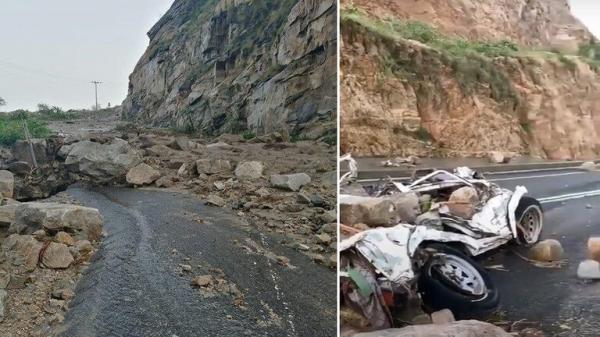 فيديو مروع يظهر تساقط الصخور من قمم الجذم على سيارة في السعودية