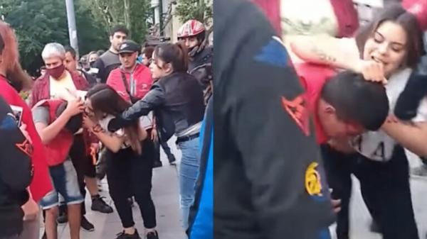لص أراد سرقة امرأة فأسقطته 3 ثواني (فيديو)