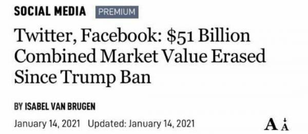 فيسبوك وتويتر تخسران 51 مليار دولار بعد حظرهما حسابات ترامب