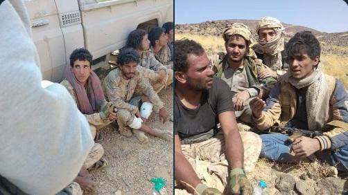 شاهد فيديوهات لحظة أسر وتسليم الحوثيين انفسهم للجيش خلال معارك مأرب