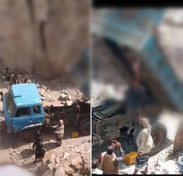 إعدام مواطن في إب شنقاً فوق شاحنته (صور)