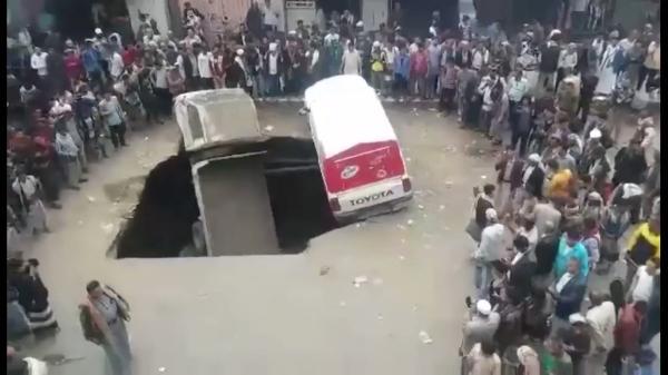 شاهد بالفيديو.. الحادثة المفزعة التي وقعت اليوم بصنعاء