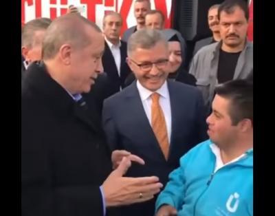 """تعرف على الفيديو الذي تتحدث تركيا بكاملها عنه لمحادثة بين الرئيس اردوغان وطفل مصاب """"متلازمة داون"""""""