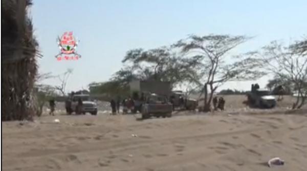 شاهد معركة جديدة لألوية العمالقة ضد الحوثيين.. بالفيديو