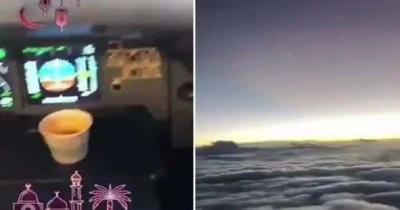 شاهد.. طيارين سعوديين يفطران في الأجواء وبعد دقائق كنت المفاجئة..! (فيديو)