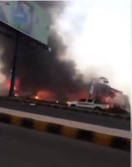 """""""فيديو""""لحظات استهداف شركة النفط اليمنية بغارات طيران التحالف"""